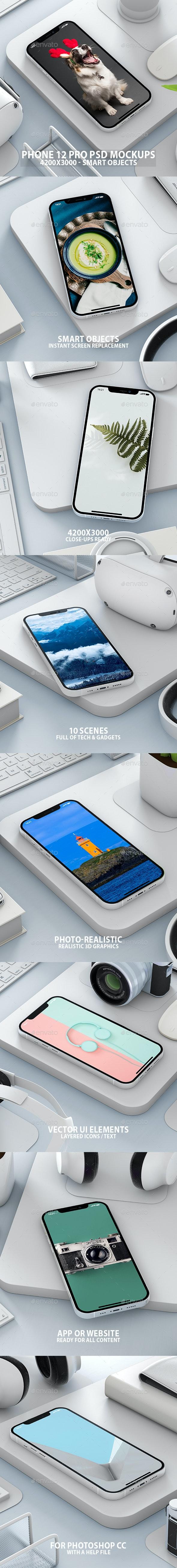 Realistic White Scene iPhone 12 PSD Mock-ups - Mobile Displays