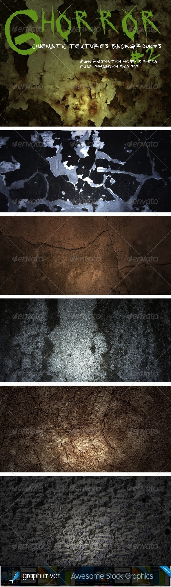 Horror Cinematic Backgrounds Pack 2 - Industrial / Grunge Textures