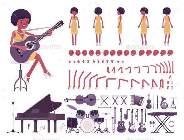 Musician Jazz Pop Woman Singing Playing Musical - Miscellaneous Vectors