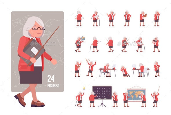 Old Teacher Female Senior Professor Tutor - Animals Characters