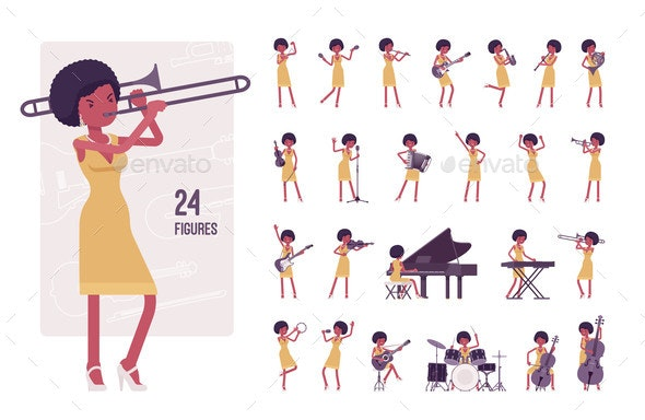 Musician Jazz Woman Playing Musical Instruments - Miscellaneous Vectors