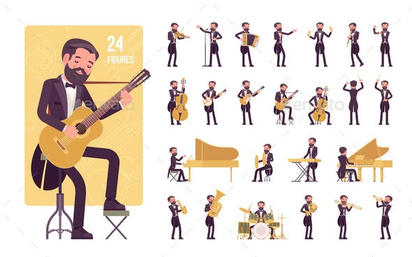 Musician Man Playing Music Musical Instruments - People Characters