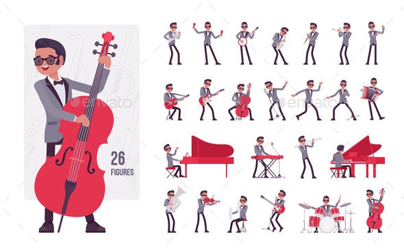Musician Jazz Man Playing Musical Instruments - Miscellaneous Vectors