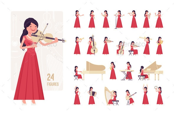Musician Woman Playing Music Musical Instruments - People Characters