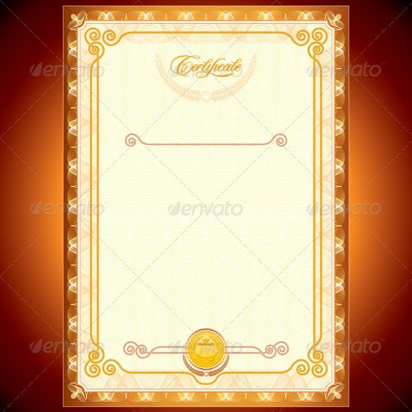 Golden Certificate - Backgrounds Decorative