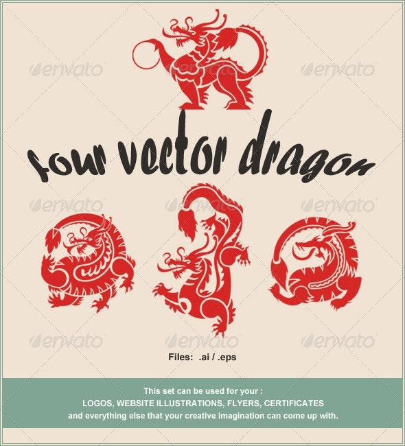 Vector Dragons - Decorative Symbols Decorative