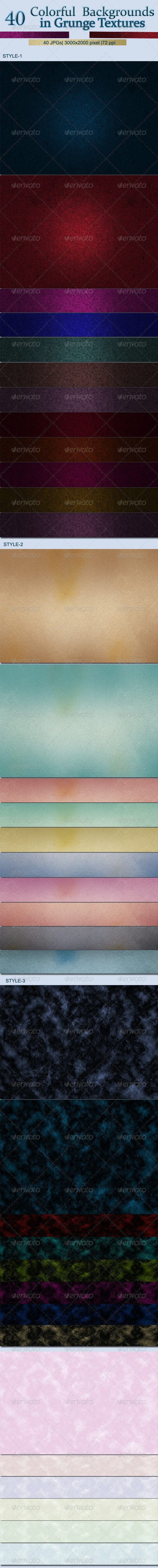40 Colorful Backgrounds in Grunge Textures - Backgrounds Graphics