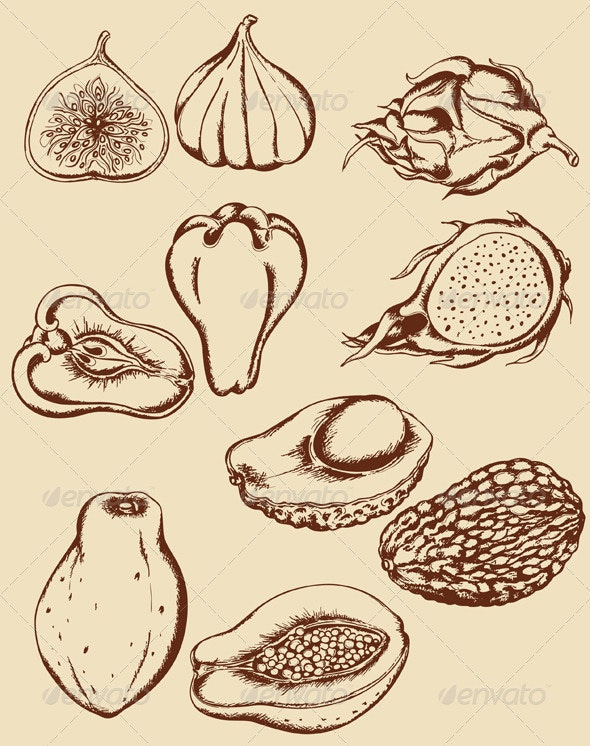 Vintage Tropical Fruits - Food Objects
