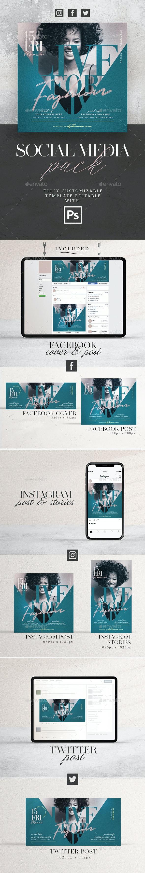 Live For Fashion Social Media Pack - Social Media Web Elements