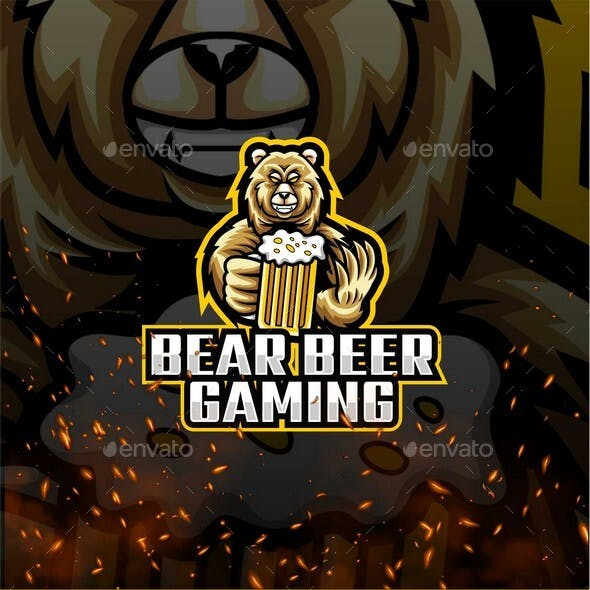 Bear Beer Gaming E-Sport and Sport Logo Template