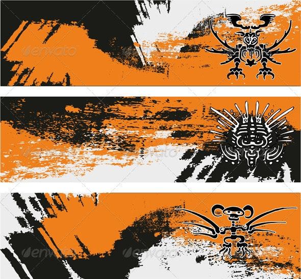 Banner Set Grunge - Decorative Vectors