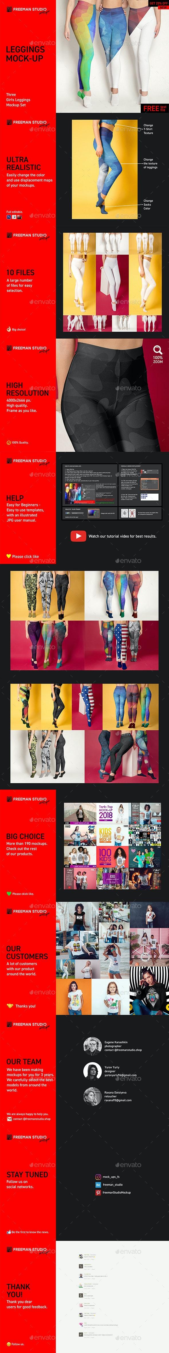 Three Girls Leggings Mock-Up Set - Product Mock-Ups Graphics