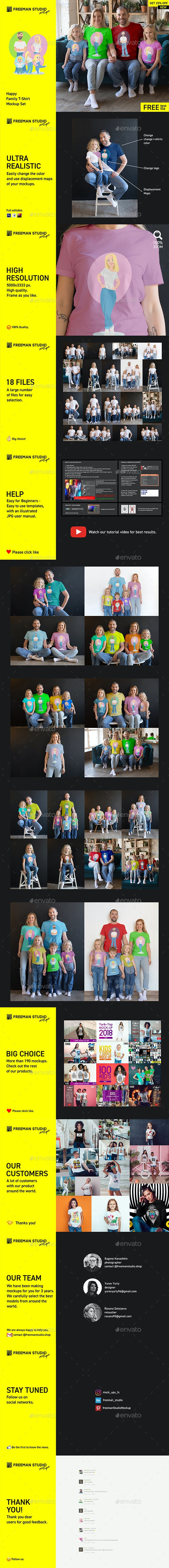 Happy Family T-Shirt Mock-Up Set - Product Mock-Ups Graphics