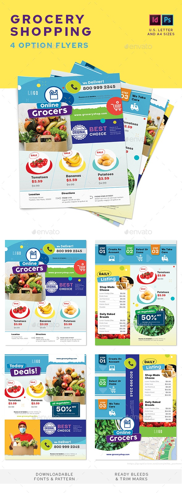 Grocery Shop Flyers – 4 Options - Commerce Flyers
