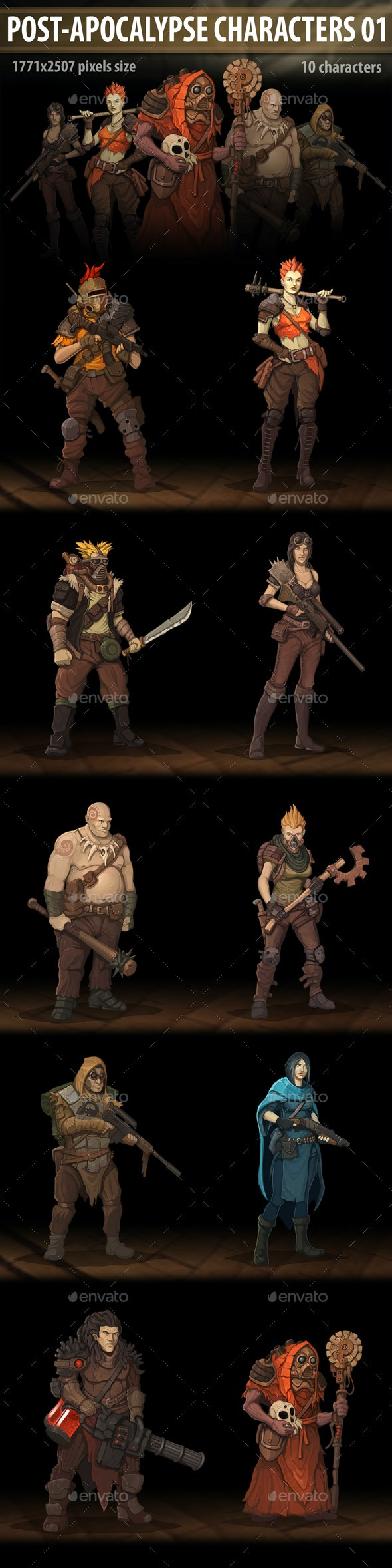 Post Apocalypse Characters 01 - Miscellaneous Game Assets