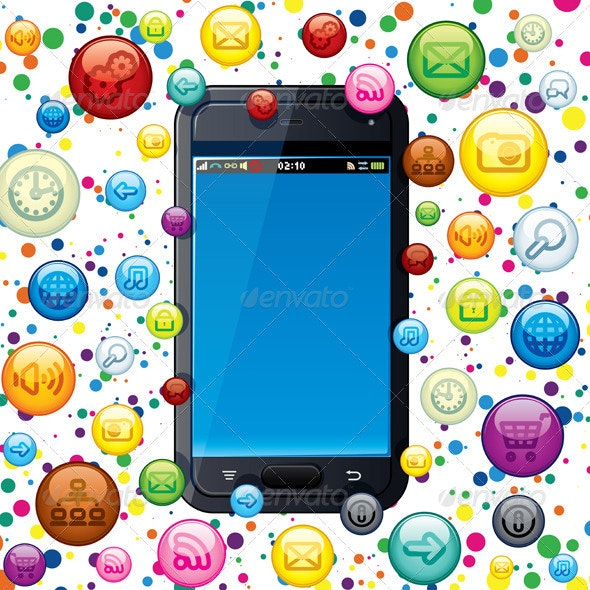 Cloud of Application Icons - Communications Technology