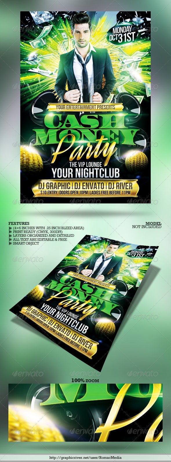 Club Sessions l Cash Money Party Flyer - Clubs & Parties Events