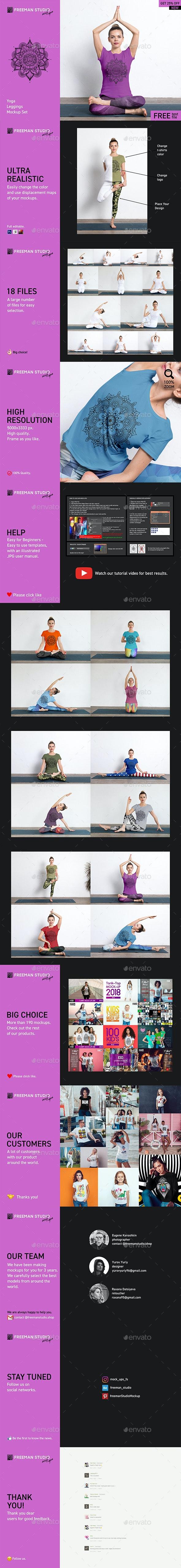 Yoga Leggings Mock-Up Set - Product Mock-Ups Graphics