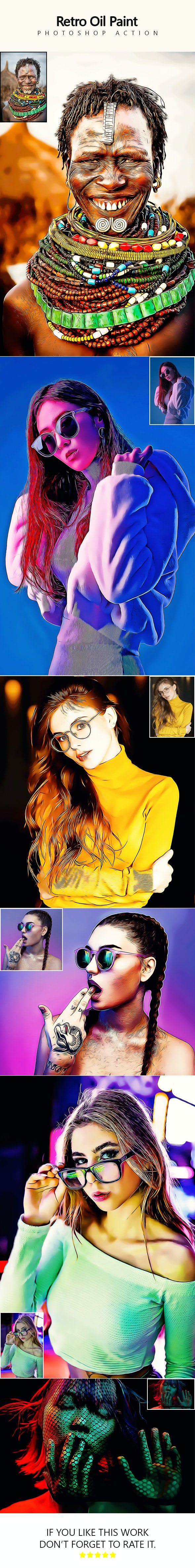 Retro Oil Paint - Photoshop Action - Photo Effects Actions