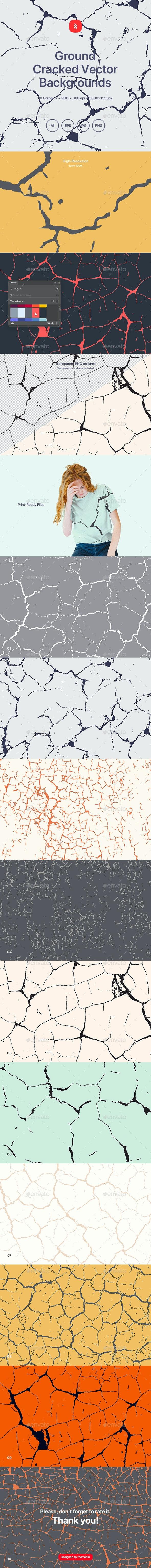Ground - Cracks Vector Texture Backgrounds - Backgrounds Graphics