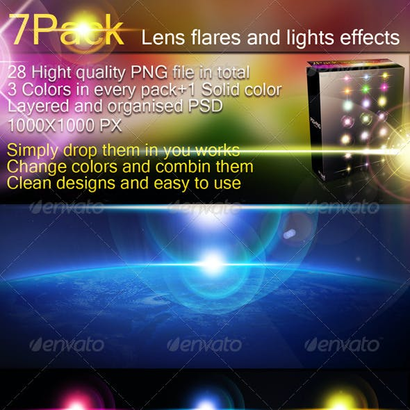 7 packs-Lens Flares and Light Effects