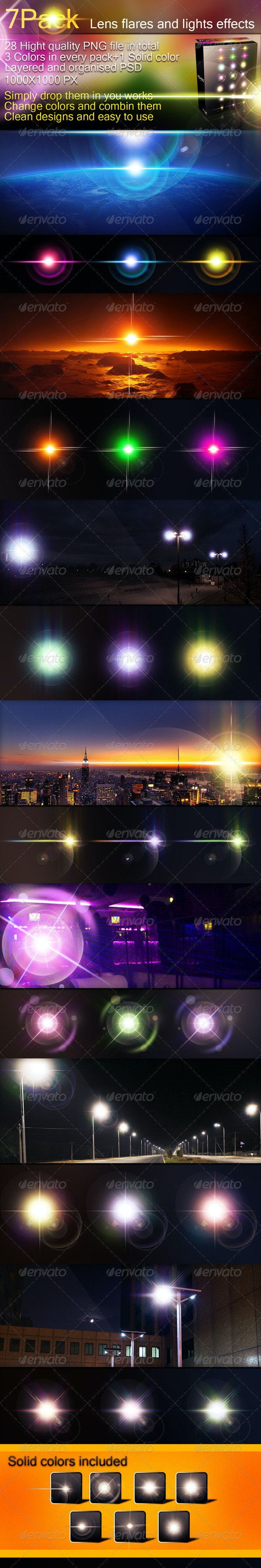 7 packs-Lens Flares and Light Effects - Decorative Graphics