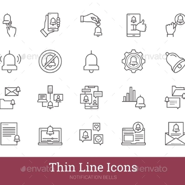 Notification Bells Thin Line Icons