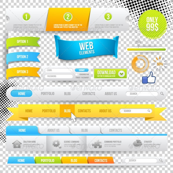 Vector Web Elements, Buttons and Labels - Web Elements Vectors