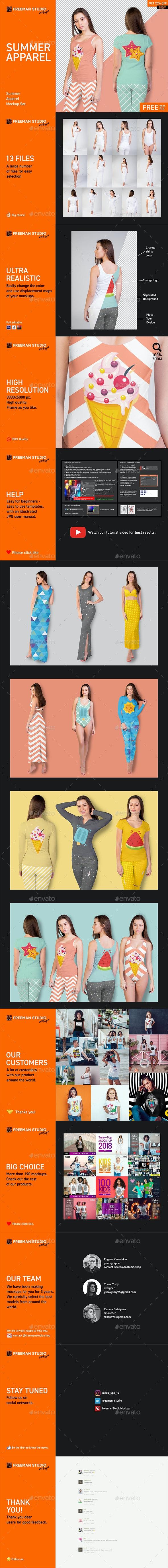 Summer Apparel Mock-Up Set - Product Mock-Ups Graphics