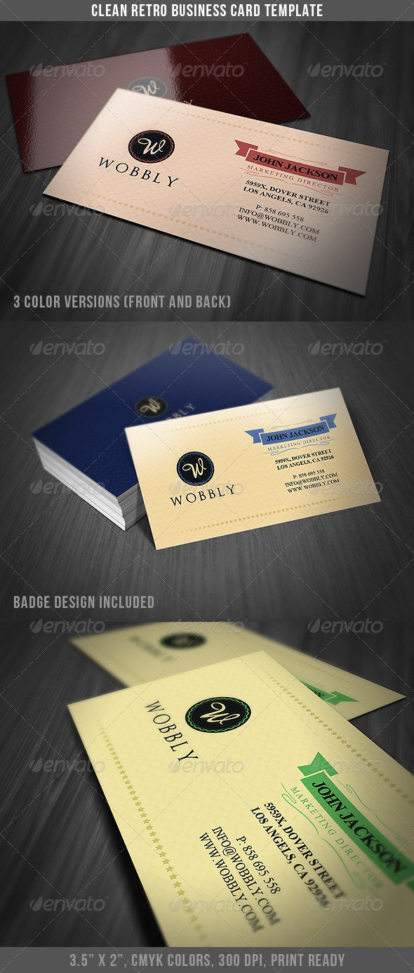 Clean Retro Business Card - Retro/Vintage Business Cards