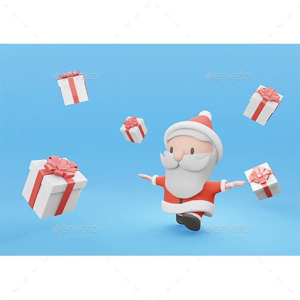 3d Rendering Cute Santa Running with White Present Box