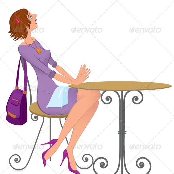 Woman with napkin vector illustration