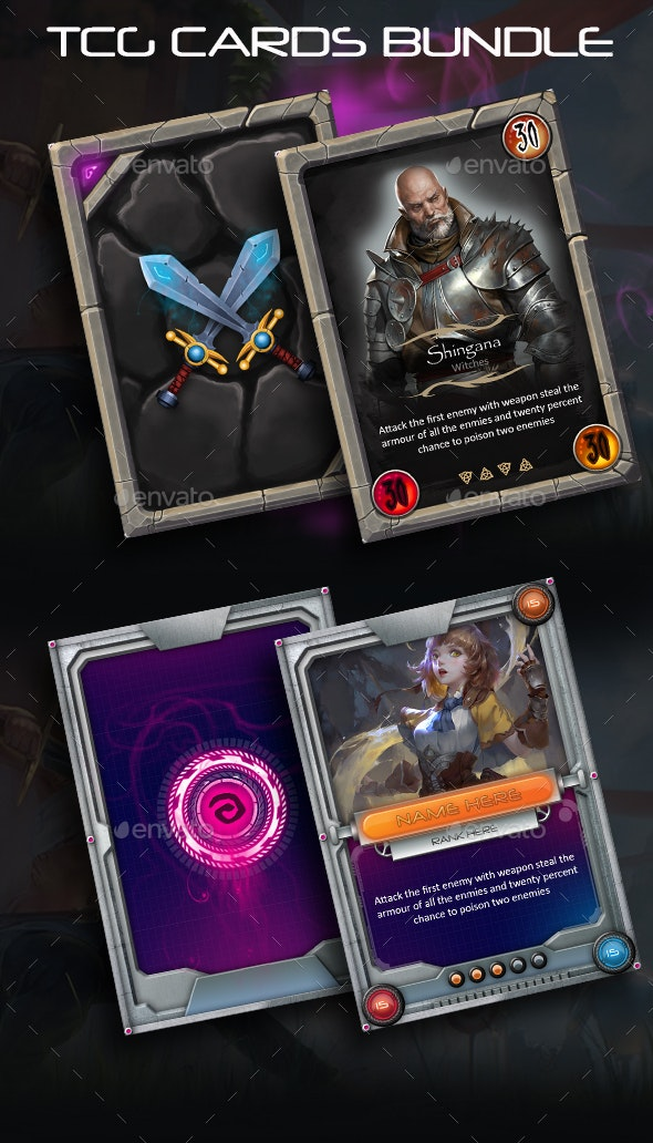2 in 1 TCG Card Templates - Game Assets