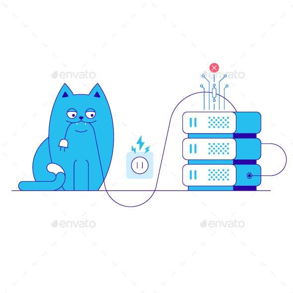 Server Error and Cat Illustration