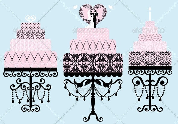 Wedding And Birthday Cakes, Vector - Food Objects