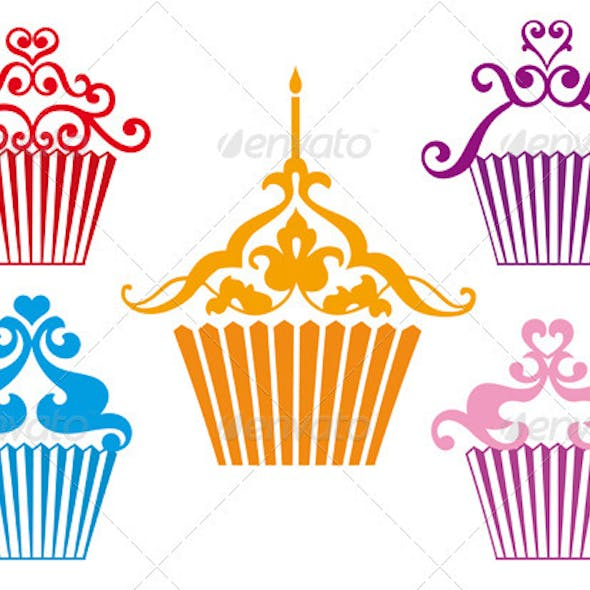 Set Of Cupcake Designs, Vector