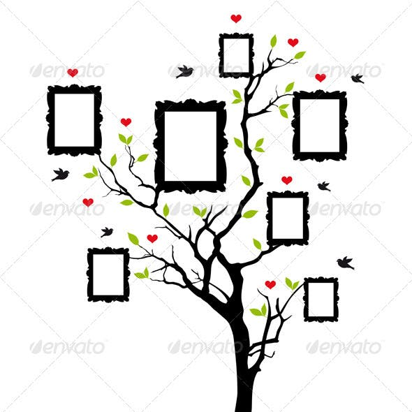 Family Tree With Vintage Frames, Vector
