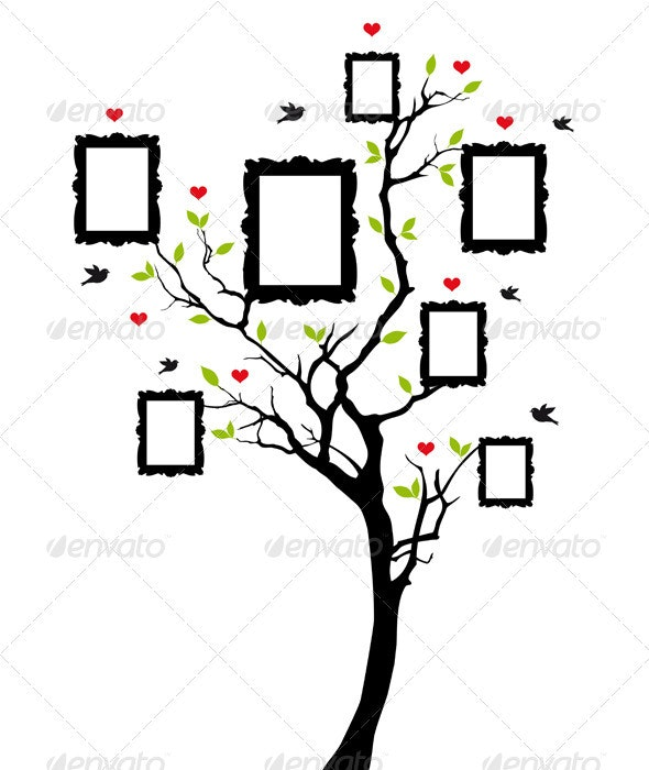 Family Tree With Vintage Frames, Vector - Flowers & Plants Nature