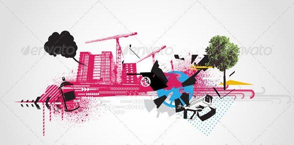 Decorative urban background - Backgrounds Decorative