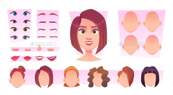 Female Face Constructor - People Characters