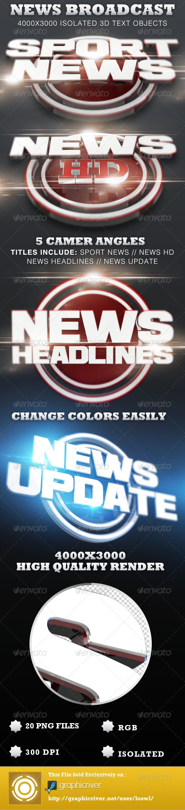 News Broadcast Isolated 3D Text Titles - Text 3D Renders