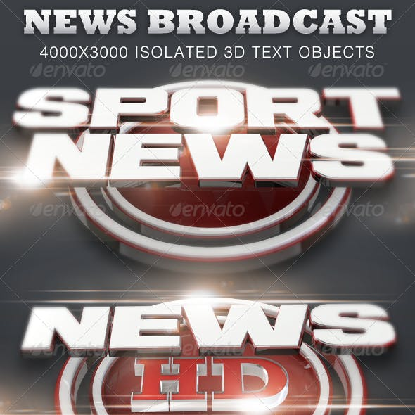 News Broadcast Isolated 3D Text Titles