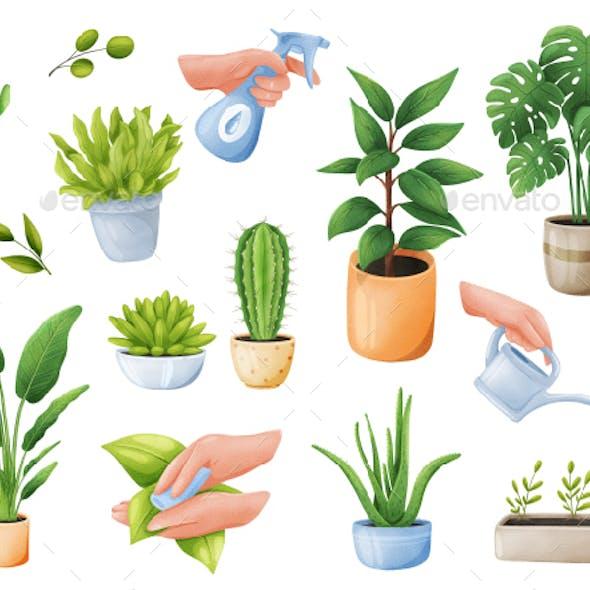 Green Plants Realistic Stickers Set