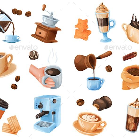 Coffee Realistic Stickers Set