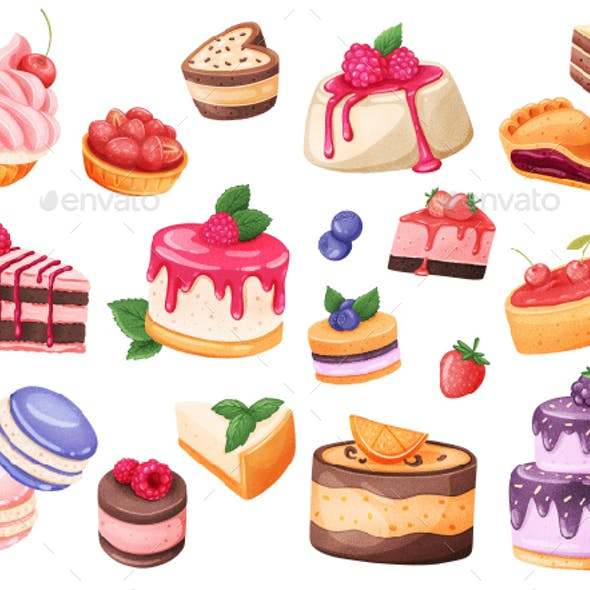 Cakes Realistic Stickers Set