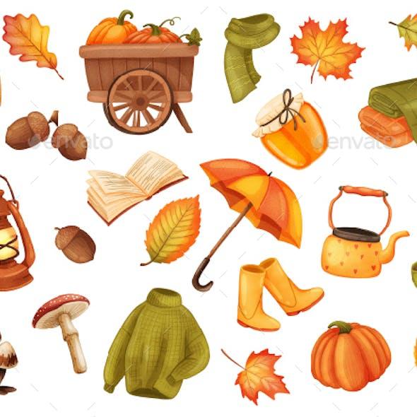 Autumn Realistic Stickers Set