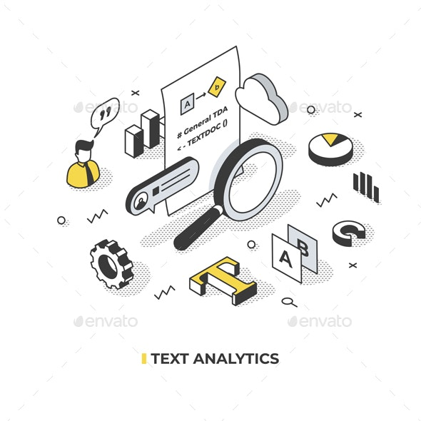 Text Analytics Isometric Concept - Technology Conceptual
