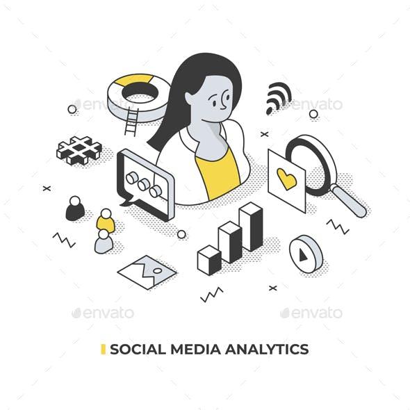 Social Media Analytics Isometric Concept