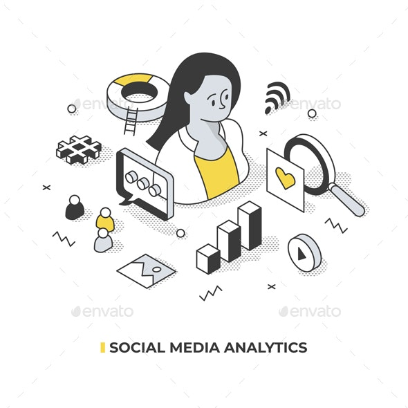 Social Media Analytics Isometric Concept - Media Technology