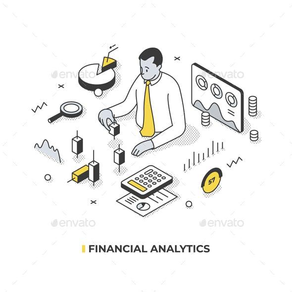 Financial Analytics Isometric Concept